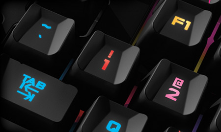 Keyboard section featuring customized colors