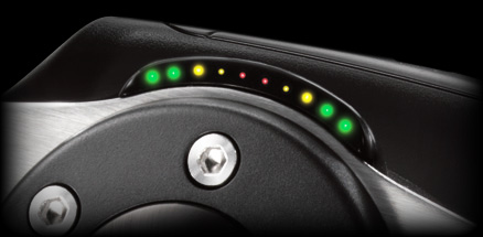 Close up of the RPM/Shift indicator LEDs
