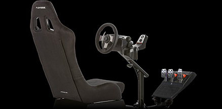 Side view of PLAYSEAT simulated racing cockpit, with G27