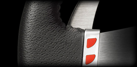 Close up of the G27 real leather grip