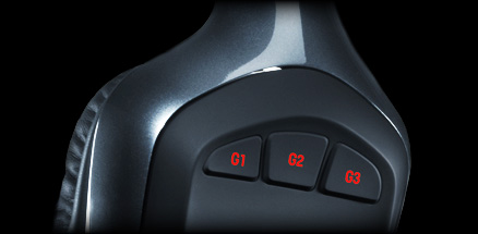 Close up of G930 earpieces three programmable G-keys