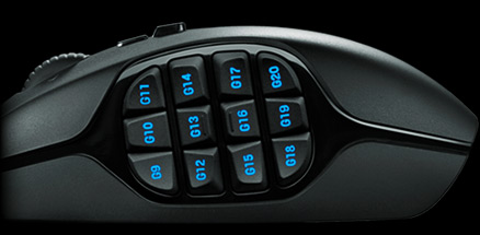 G600's dual dish thumb buttons left side close up