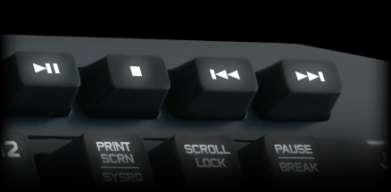 Close up of media buttons