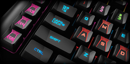 G910 keyboards section close up of custom color key illumination