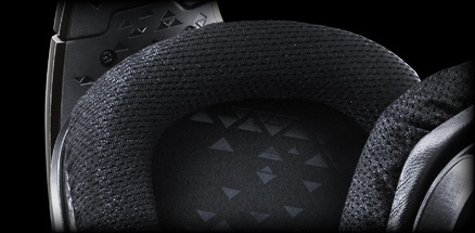 Close up of G633 earcups sports mesh material
